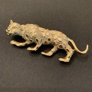 Vintage gold leopard pin